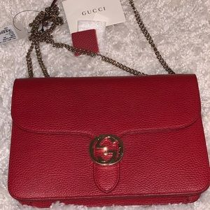 Gucci  Chain Gg Leather Red Cross Body bag